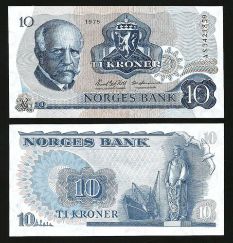 UNC P-36b,Sign Wold /& Odegaard Consecutive 2 PCS PAIR Norway 10 Kroner 1975