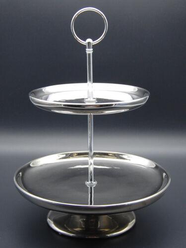 Etagere aus Keramik silber lackiert 28 Zentimeter hoch Durchmesser 20,5 cm
