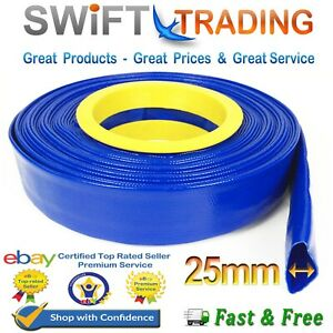 """Blue PVC Layflat Water Delivery Hose 1/"""" 4/"""" Discharge Pump Irrigation Lay Flat"""