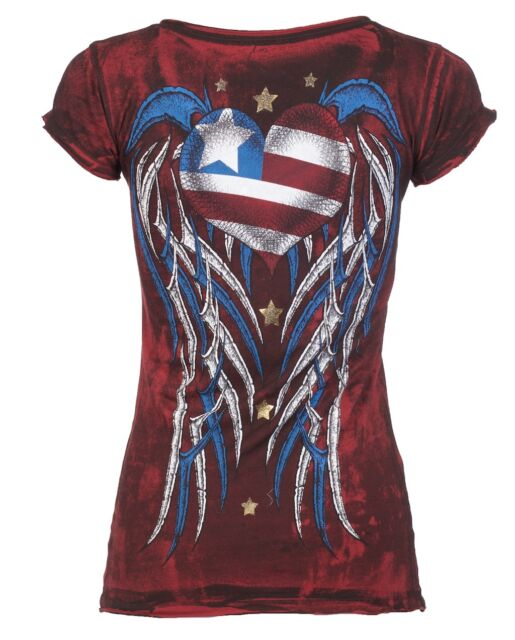 Archaic AFFLICTION Women T-Shirt AMERICAN LOVER Biker USA FLAG Sinful S-XL $40 a