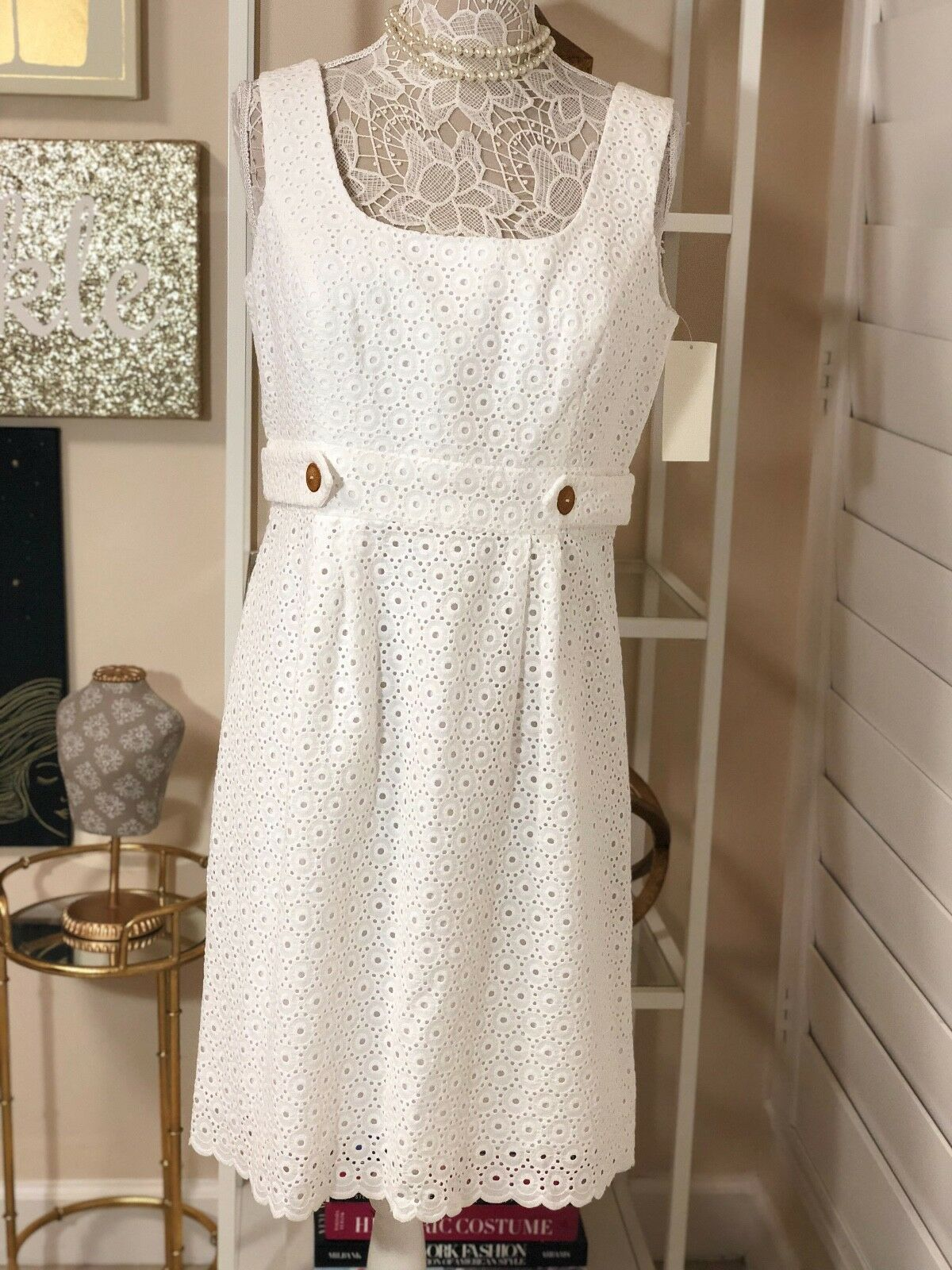 NWT Shoshanna Sand Dollar Eyelet Dress in Natural, Weiß, Sz 12, MSRP