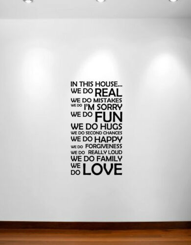 In This House We Do Wall Decal Sticker Customizable Family Rules Quote Nursery