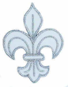 PATCH-PATCHES-FLEUR-DE-LIS-LYS-EMBROIDERED-FRANCE-FRENCH-ROYAL-CROSS-WHITE