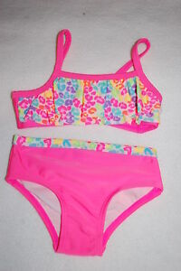 60c37a29456 Baby Girls 2 PC SWIMSUIT Ruffled Bandeau Top NEON LEOPARD PRINT Hot ...