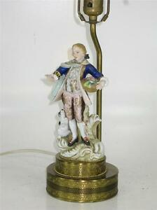 Image Is Loading FRENCH STYLE Porcelain FIGURINE BOUDOIR TABLE LAMP MAN