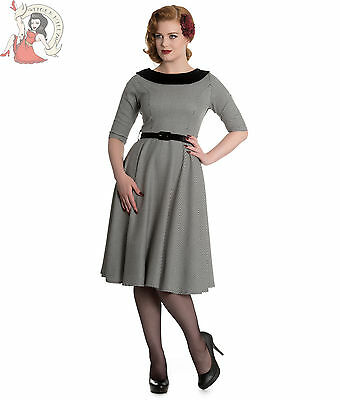 HELL BUNNY JACKSON 50s vintage style DOGTOOTH houndstooth DRESS BLACK WHITE