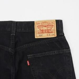 LEVI-STRAUSS-505-Regular-Fit-Straight-Leg-Jeans-Black-Denim-Mens-31x33