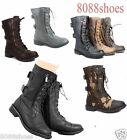 Women's Cute Mid Calf Zipper Low Heel Combat Military Lace Up Shoes Size 5 - 11