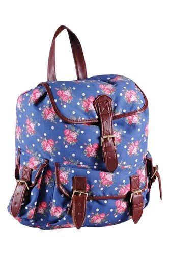Womens Canvas Horse Print Pattern Backpack Rucksack Daysack Sports Workout Bag