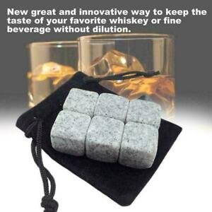 6Pc-Whisky-Ice-Stone-Wine-Drinks-Cooler-Cubes-Whiskey-R4J0-Pouch-Granite-T4G9