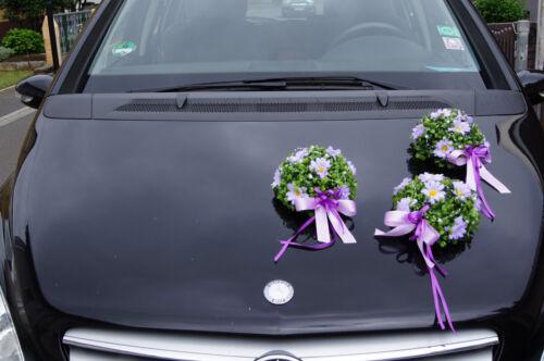 EXCL autodeko Decorazione Sfera Set 3 nozze auto ARTE FIORI AUTO gioielli sposa kk1
