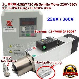 4 5kw 220 380v Atc Automatic Tool Change Bt30 Air Spindle Motor 5 5kw Inverter Ebay
