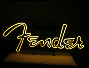 Fender Guitar Man Cave Real Glass Neon Sign 17