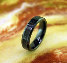 6MM Black Beveled Ceramic Ring w/ Black Carbon Fiber Inlay Unisex 6-13 Handmade