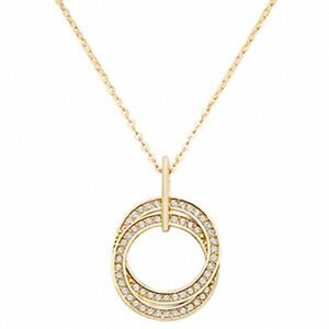 Ladies-Gold-Necklace-Yellow-Gold-Double-Open-Circle-CZ-Necklace-With-Chain