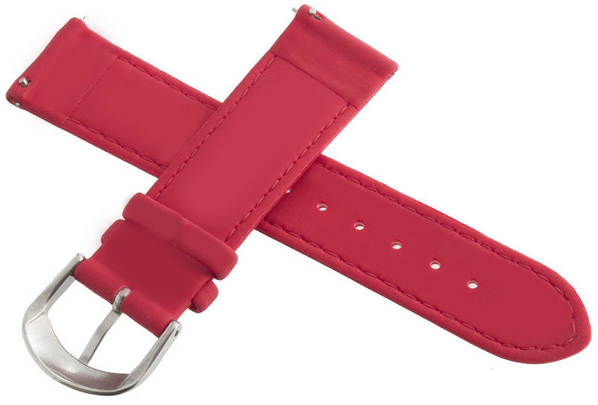 Image 2 - Jacob & Co. 20mm Red Polyurethane Rubber Band Strap with Silver tone Clasp Watch