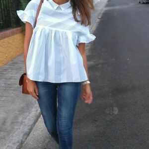 righe blu Ss16 a Top Zara Bloggers voluminose Xs a 513 righe Camicetta 2630 F8dXXwq