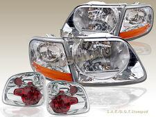 97 98 99 00 FORD F-150 SVT Flareside Stepside Headlights & Tail Lights Chrome