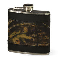 Mossy Oak Camo Leather Hip Flask - Camouflage Gifts - Black Trim