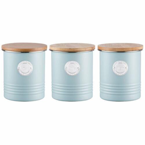 Typhoon Living bleu thé café sucre Stotage Pots Set LBL3