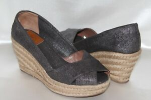 5aa9e322b59f Image is loading TORY-BURCH-Woven-Metallic-Gray-Canvas-Espadrille-Jute-