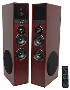 Rockville-TM80C-Cherry-Powered-Home-Theater-Tower-Speakers-8-034-Sub-Bluetooth-USB