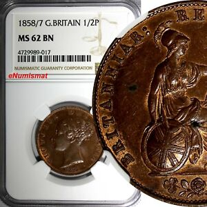 Great-Britain-Victoria-Copper-1858-7-1-2-Penny-OVERDATE-NGC-MS62-BN-KM-726