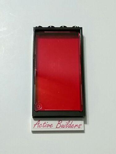 2x Lego Clear Red Windows 1 x 4 x 6 Black Frame 70815 Glass