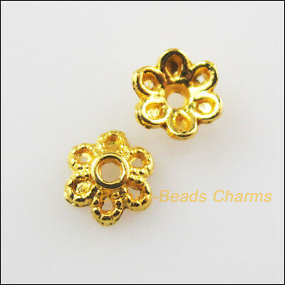 60 New Tiny Flower Connectors Antiqued Gold Tone Charms Pendants 5x16mm