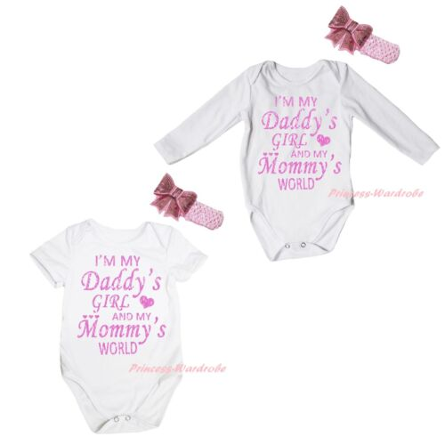 I M My Daddy Girl Mommy World White Baby Cotton Romper Bodysuit Jumpsuit NB-18M