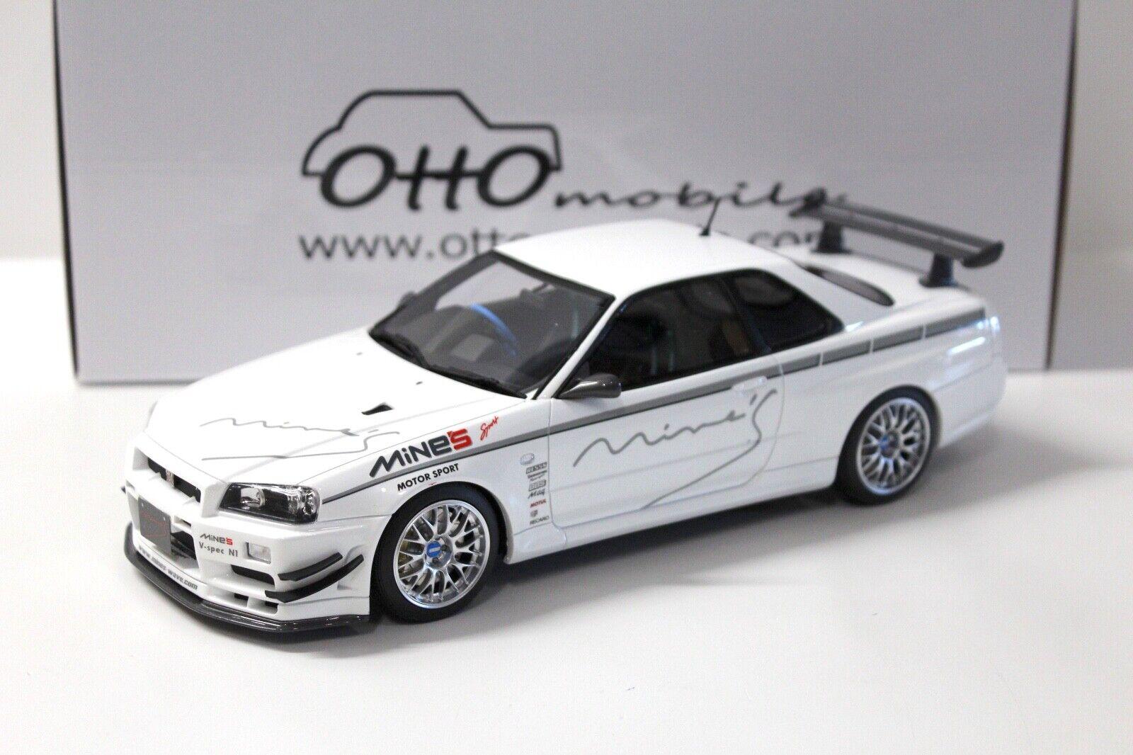 1  18 Otto Nissan Skyline GT-R r34 Mine's blanc nouveau chez Premium-modelvoitures  plus d'ordre
