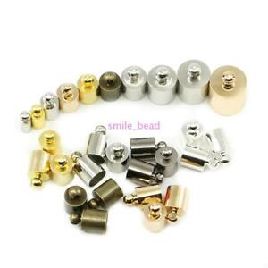 Gold/&Silver 50 Pcs 25mm Half Round Ribbon Crimps Cord End Caps Clasps Clamp Cord Cap Tip for DIY Jewelry Making