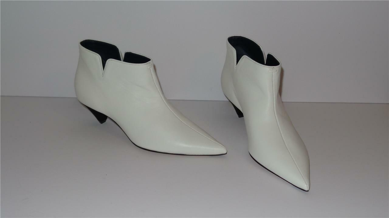 1300 CELINE OPTIC WHITE SOFT LAMBSKIN LEATHER ANKLE LOW BOOT 45 SIZE 37