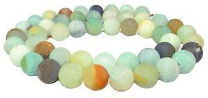 Amazonit-multicolor-8-mm-Kugeln-mattiert-Edelstein-Perlen-Strang-fuer-Kette
