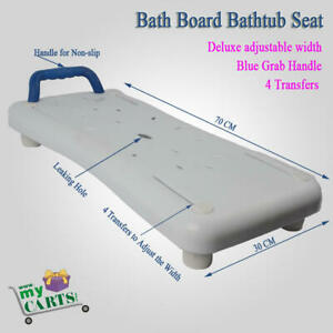 Free-Post-Deluxe-adjustable-Bath-Board-Bathtub-Seat-with-Grab-Handle-Blue
