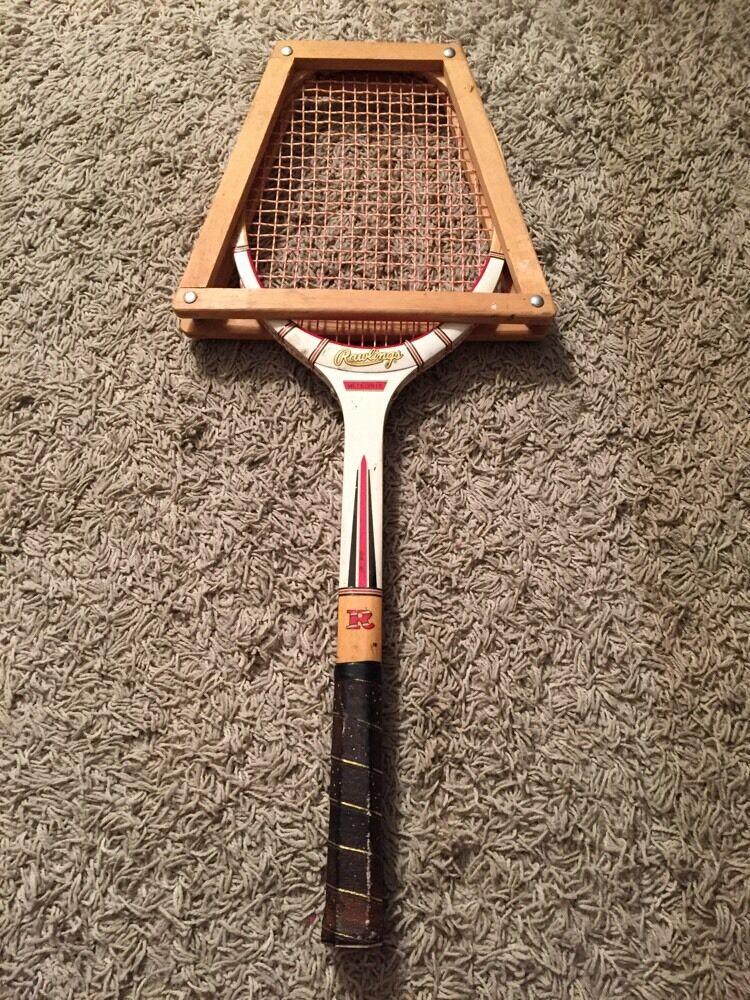 Vintage Wood Rawlings Meteorite Tennis Racquet W  Wooden Case