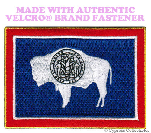 WYOMING STATE FLAG PATCH EMBROIDERED SYMBOL APPLIQUE w// VELCRO® Brand Fastener