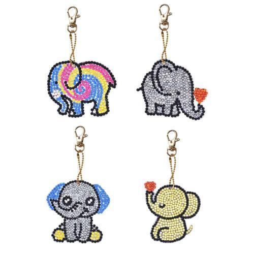 6pcs DIY Full Drill Diamond Painting Cartoon Pig Resin Bag Keychain Jewelry  #SN