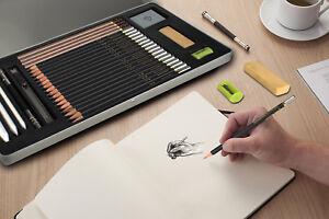 29PCs conjunto de fuentes de dibujo profesional Kit De Arte Dibujo Lápiz  herramientas Estudiante De Regalo | eBay