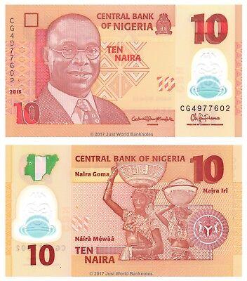 Nigeria 10 Naira 2015 Polymer P-39f Banknotes UNC