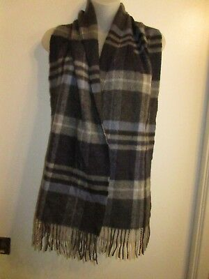 BLOOMINGDALE/'S The Men/'s Store 100/% Cashmere Gray Blue Plaid Fringe Scarf Warm
