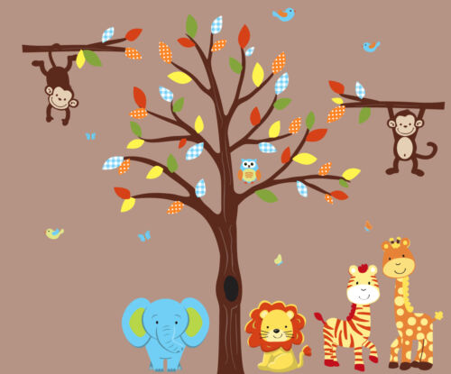 Lion Wall Art Jungle Animal Wall Decal Jungle Tree Decal Animal Wall Stickers