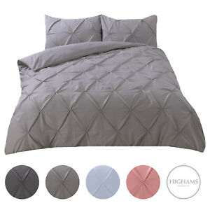 Highams-Pintuck-Pleated-Duvet-Cover-with-Pillowcase-Bedding-Set-Charcoal-White