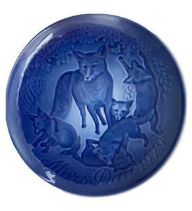 MOTHER'S DAY 1979 Plate Mors Dag Bing & Grondahl Fox With Cubs Denmark Blue