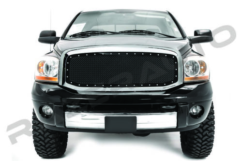 06-08 Dodge RAM 1500+06-09 RAM 2500+3500 Black Mesh Grille+Rivet+Chrome Shell