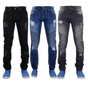 Men-Ripped-Jeans-Slim-Fit-Skinny-Stretch-Cuffed-Cotton-Denim-Trouser-Biker-Pants