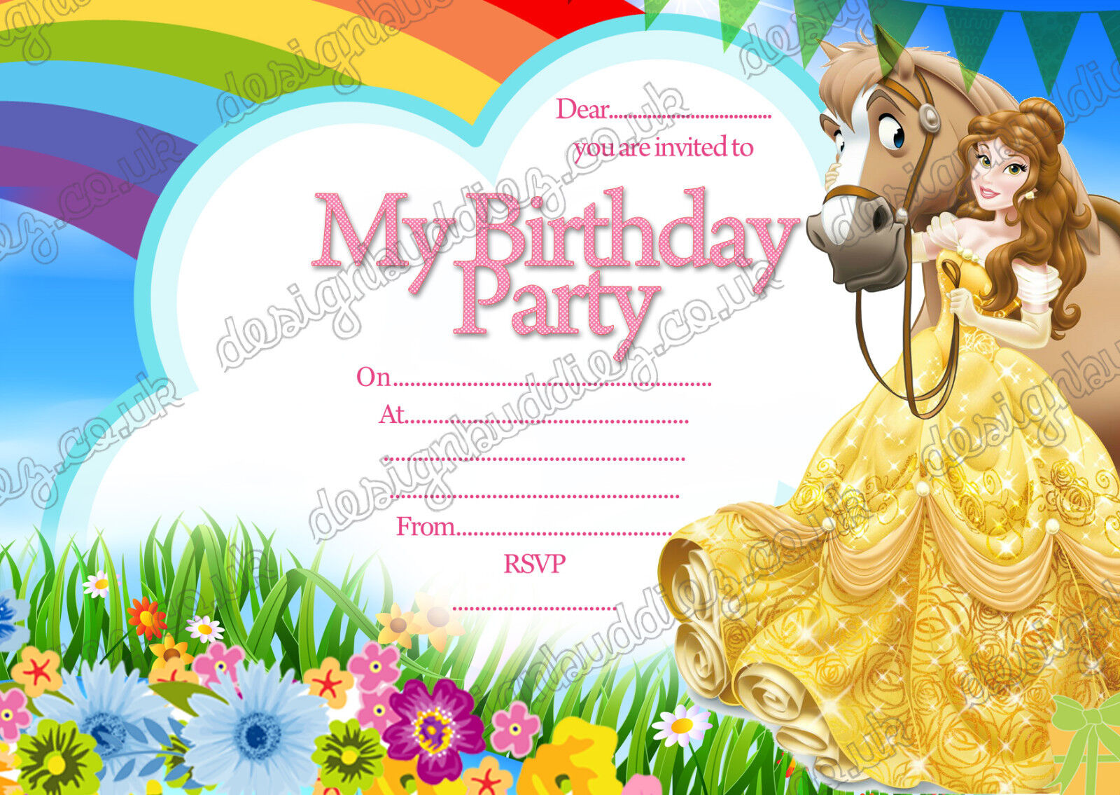 8 X Disney Princess Belle Birthday Party Invitations Thick Cards ...