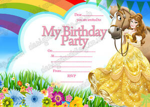8 x new disney princess belle birthday party invitations thick cards image is loading 8 x new disney princess belle birthday party filmwisefo