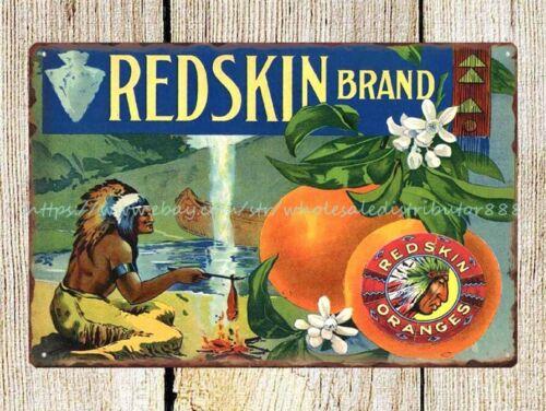 vintage reproduction orange American native headdress metal tin sign wall plaque