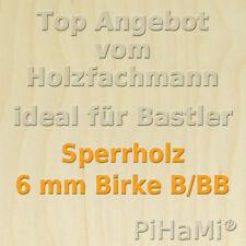 Holzplatte 12,4€//m² 1 Platte Sperrholz Multiplex Birke  6mm 50 x 50 cm